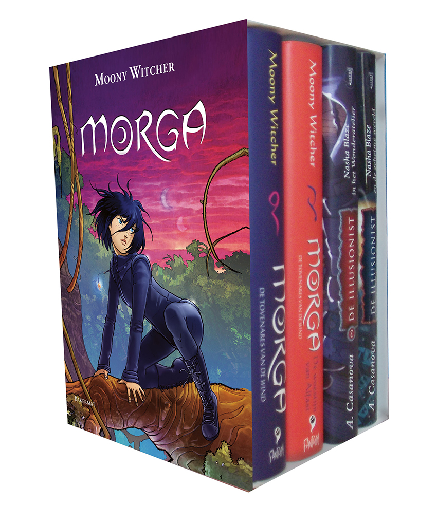 Boekenbox met reeksen Morga en De Illusionist