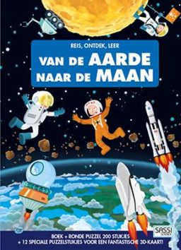 Boek + puzzel: naar de maan! cover