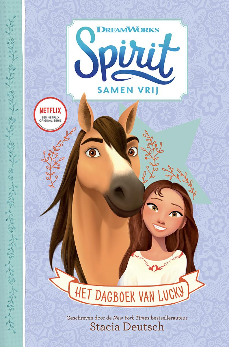 Cover van Het dagboek van Lucky: tekening Lucky en Spirit tegen een paarse achtergrond met bloemen