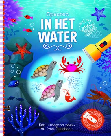 Cover speuren in het water: een tekening van zeedieren onder water met enkele dieren belicht door een zaklamp