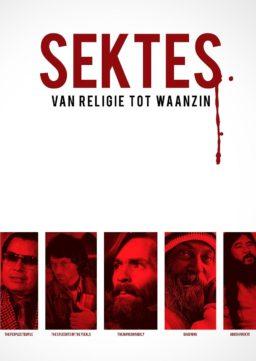 Cover Sektes: een witte cover met rode portretten van sekteleiders