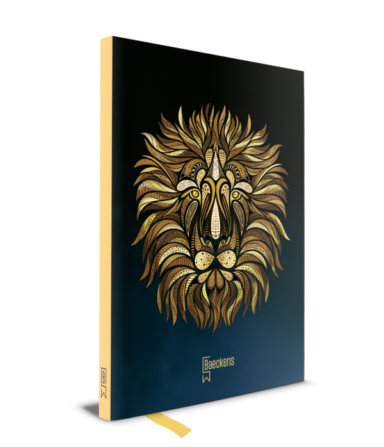 notitieboekje met gele rug en getekende leeuwenkop op cover
