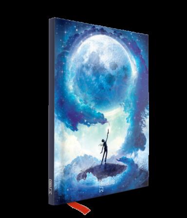 notitieboekje met blauwe tekening van maan en tovenaar op cover