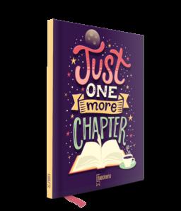 notitieboekje met gele rug met de tekst just one more chapter op cover