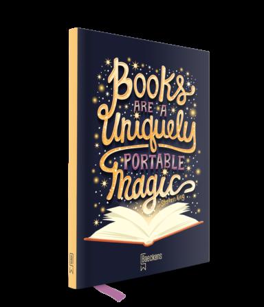 notitieboek met daarop de quote books are a uniquely protable magic