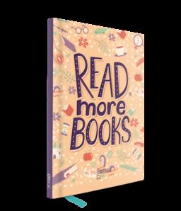 notitieboekje met paarse rug en de quote read more books