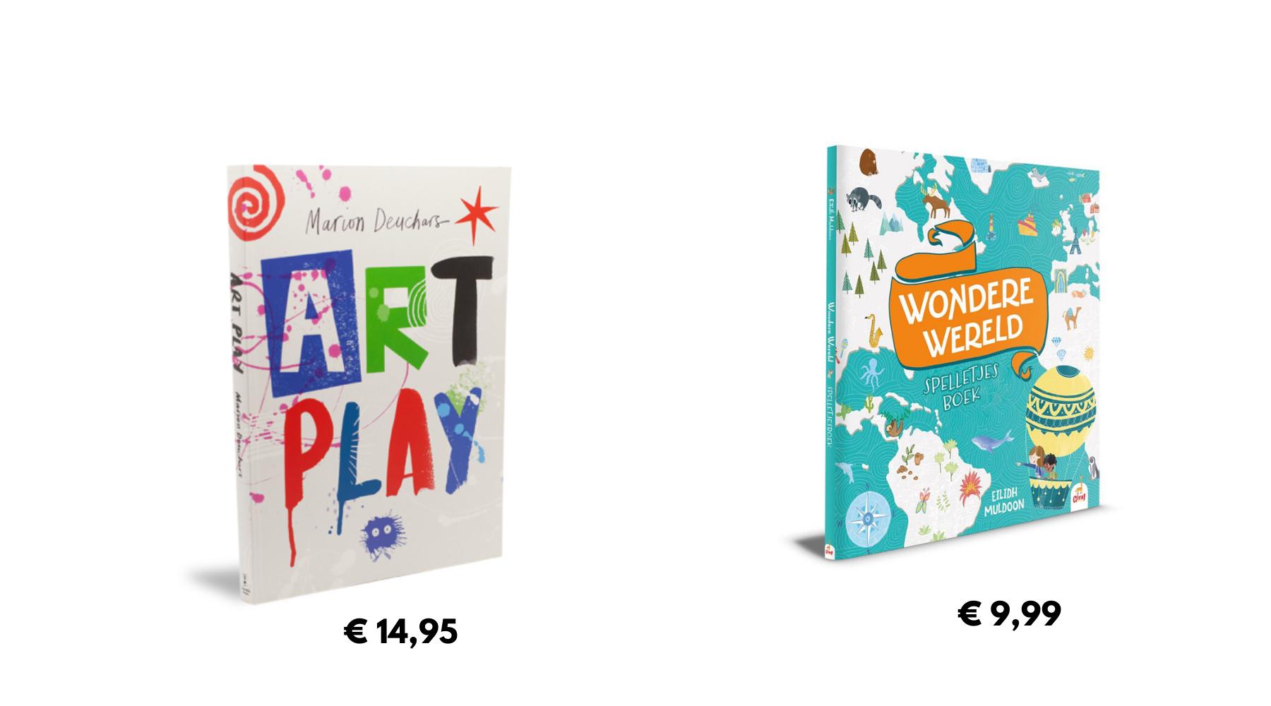covers van art play en wondere wereld spelletjesboek
