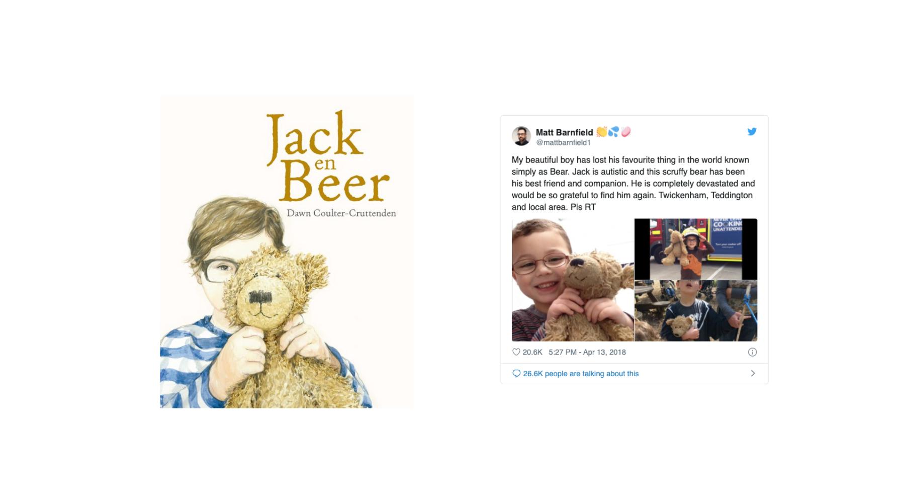 cover van jack en beer en tweet over echte jack en beer