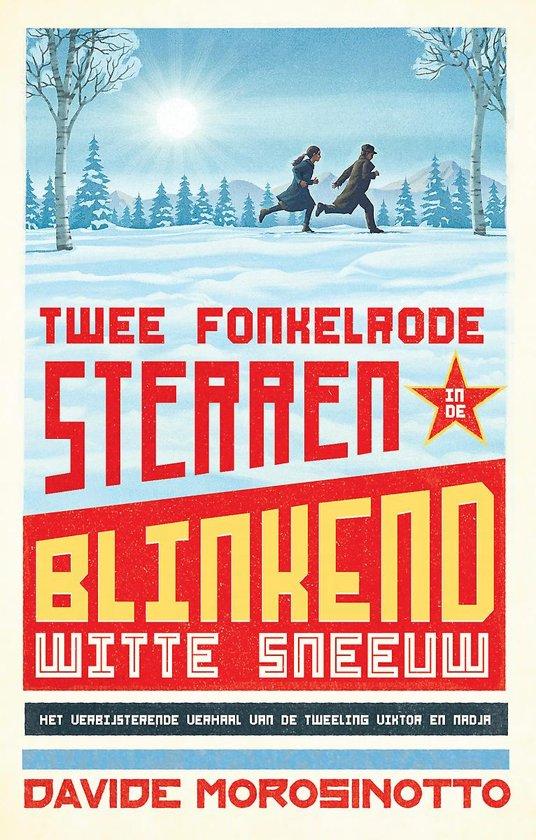 Twee fonkelrode sterren in blinkend witte sneeuw